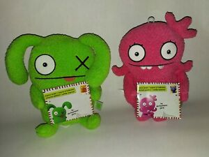 """Set of 2 Uglydoll Yours Truly Moxy & Jokingly Yours Ox  9"""" Soft Plush Beanie NEW"""