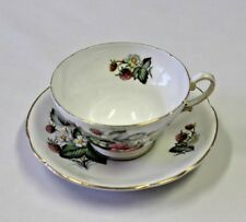 Stanley  Cup & Saucer England Bone Strawberry