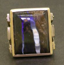 Vintage heavy 14K gold large 21.3 X 17.15mm agate solitaire men's ring size 10.5