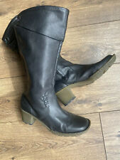 Dr Martens Black Leather Cuff Detail Mid Calf Boots 7 41
