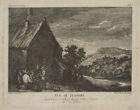 """J. WACHSMUTH (1712), n. D.TENIERS d.J.(1610), """"Ansicht von Flandern"""", Kst., 1750"""