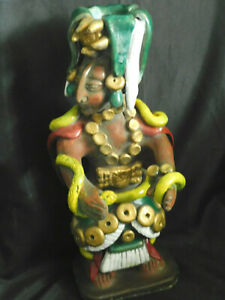 Bougeoir statuette en terre cuite de divinité Aztèque  Huitzilopochtli