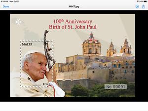 2020 Malta 100-lecie - Narodziny św. Jana Pawła Mini Sheet Mint VF
