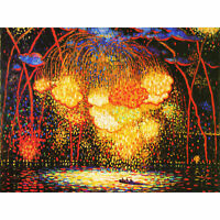 Middleton Manigault Rocket Fireworks Painting Wall Art Canvas Print 18X24 In