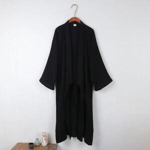 Mens Cotton Blend Kimono Yukata Pajamas Japanese Bathrobe Lace Up Gown Nightwear