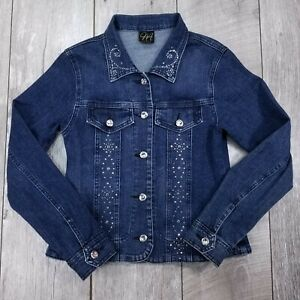 Katina Marie Denim Trucker Jean Jacket Womens Small Blue Sequence Button Coat