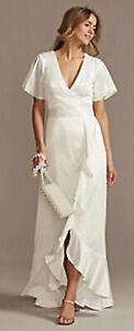 Wedding Dress Size 14 Flutter Satin Ruffled Hem Beach Casual Davids Bridal