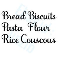 6 Jar Labels Vinyl Decals Stickers Kitchen Biscuits Pasta Bread Rice Flour