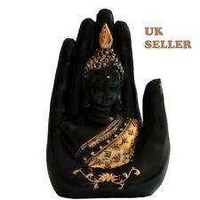 PALM BUDDHA THAI BUDDHA STATUE BLACK WITH BRONZE GOLD DETAILS ORNAMENT UK SELLER