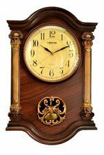 "Nice! Wooden Wall Clock Pendulum Mahogany Gold Toned Ornate 22"" x 15"" x 3"""