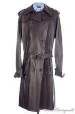 GUCCI Runway Solid Brown Belted LEATHER Jacket Trench Coat - EU 52 / US 42 / L