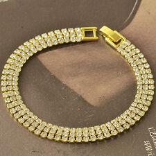 Around Much Row 9K Yellow Gold Filled CZ Womens Bracelet 190*8mm,F5050