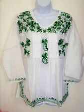 WHITE COTTON GREEN EMBROIDERED TUNIC TOP KURTI FROM INDIA
