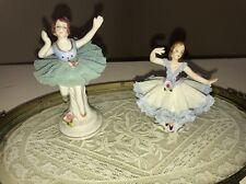 Vintage Dresden Lace Dancer Woman Figurine Germany Porcelain Ballerina Ballet