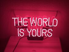 New The World Is Yours Pink Beer Pub Acrylic Neon Light Sign 14""