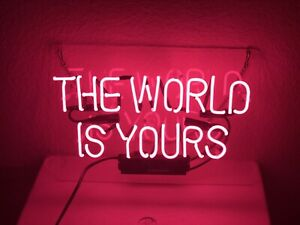 """New The World Is Yours Pink Beer Pub Acrylic Neon Light Sign 14"""""""
