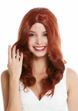 Women's Wig Ladies Long Wavy Middle Part Dark Copper Red
