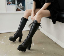 Women Platform Mid Calf Lace Up Round Toe Shoes Block Heels Martin Boot Warm Hot