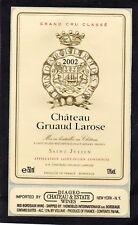 ST JULIEN 2E GCC ETIQUETTE CHATEAU GRUAUD LAROSE 2002 75CL EXPORT USA §13/11/17§