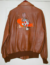 A-2 Warner Bros. Embroidered Bugs Bunny Genuine Leather Flight Jacket Men's L