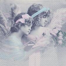 2 Serviettes papier Anges Fleurs Paper Napkins Flower Angels Sagen Vintage