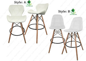 PU Leather Kitchen Breakfast Bar stools Padded Seat with Wooden Legs
