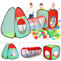 3 In 1 Baby Kids Play Tent Ball Pit Pool House Crawl Tunnel Indoor/Outdoor Games