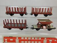 AQ879-1# 4x Buco H0/AC Güterwagen: Rungenwagen+Schüttwagen, sehr gut