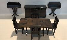 VINTAGE PLASCO DOLL HOUSE FURNITURE SET OF 8 DINING TABLE,CHAIRS,BUFFET +