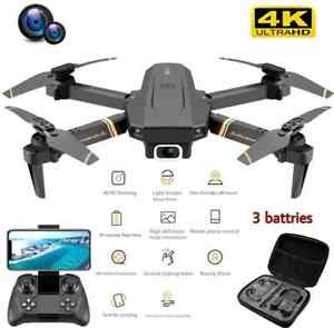 RC Drone 4K HD Wide Angle Dual Camera Wi-Fi FPV Foldable Quadcopter +3 Batteries