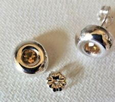 Sterling Silver Earrings set with Citrine, Designer Polished Round, 4mm Stone