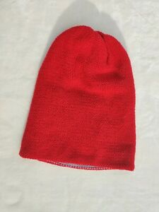 Unisex Red And Gray Reversible Crochet Knit Beanie