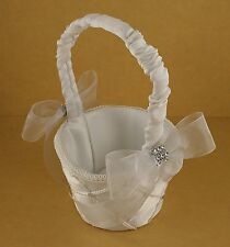 WHITE Flower Girl Basket with Organza Bow & Faux Rhinestone Accent CHOOSE COLOR