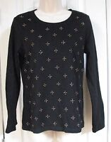 Weekends by Chico's Black Long Sleeve Knit Shirt Gold Studs 0 100% Cotton XS