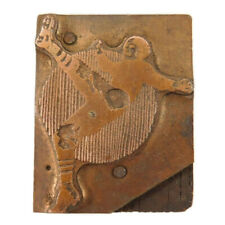 Printer Printing Letterpress Copper Wood Block FOOTBALL PLAYER kicking ball