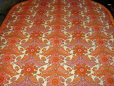 Vintage 60s 70s funky orange pink floral & paisley fringed bedspread / throw