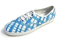 City Sneaks Women's Sky Blue & White Plaid Lace Up Canvas Sneakers Shoes 9M