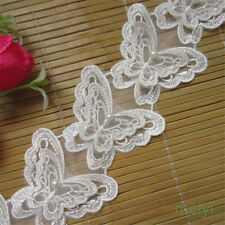2x White Butterfly Pearl Lace Applique Trims Embroidery Dress Motif DIY Craft