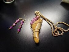 Wire Wrapped Jasper Stone Pendant with Pink Crackle Beads & Matching Earrings