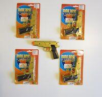 "4 NEW GOLD TOY CAP GUNS 7"" POLICE GUN .45 DETECTIVE  PISTOL FIRES 8 RING CAPS"