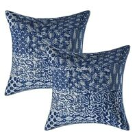 Traditional Cushion Covers 45x45 cm Kantha Cotton Patchwork Boho Throw Pillows