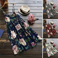 UK 8-24 Women Sleeveless Floral Printed Party Evening Beach Tank Top Shirt Dress