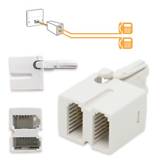 BT TELEPHONE PLUG SOCKET DOUBLE ADAPTER | Phone Splitter 4-Wire Two-Way | White