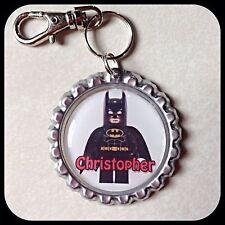 Personalized LEGO BATMAN Bottle Cap Key Chain Zipper Pull School Backpack ID