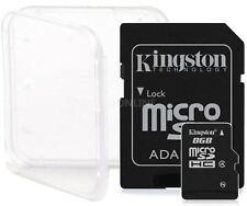 4 PACK 8GB KINGSTON CLASS 4 micro SD SDHC microSD Flash Memory Card Lot + CASE