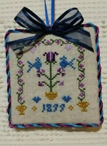 finished completed cross stitch ornament sampler Birthday gift card Christmas
