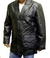 Men/'s Black Sports 3 Buttons Genuine Leather Sports Blazer Jacket