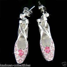 Pink w Swarovski Crystal Ballerina Shoes Slippers Ballet Dance Earrings Xmas New