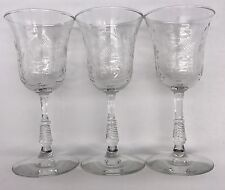 "3 LIBBEY ROCK SHARPE DARTELLE 6"" WINE GLASSES Flowers Dots  17-779D"