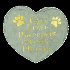 """Step Stone Heart Shaped """"Cats Leave Pawprints On Our Hearts"""""""